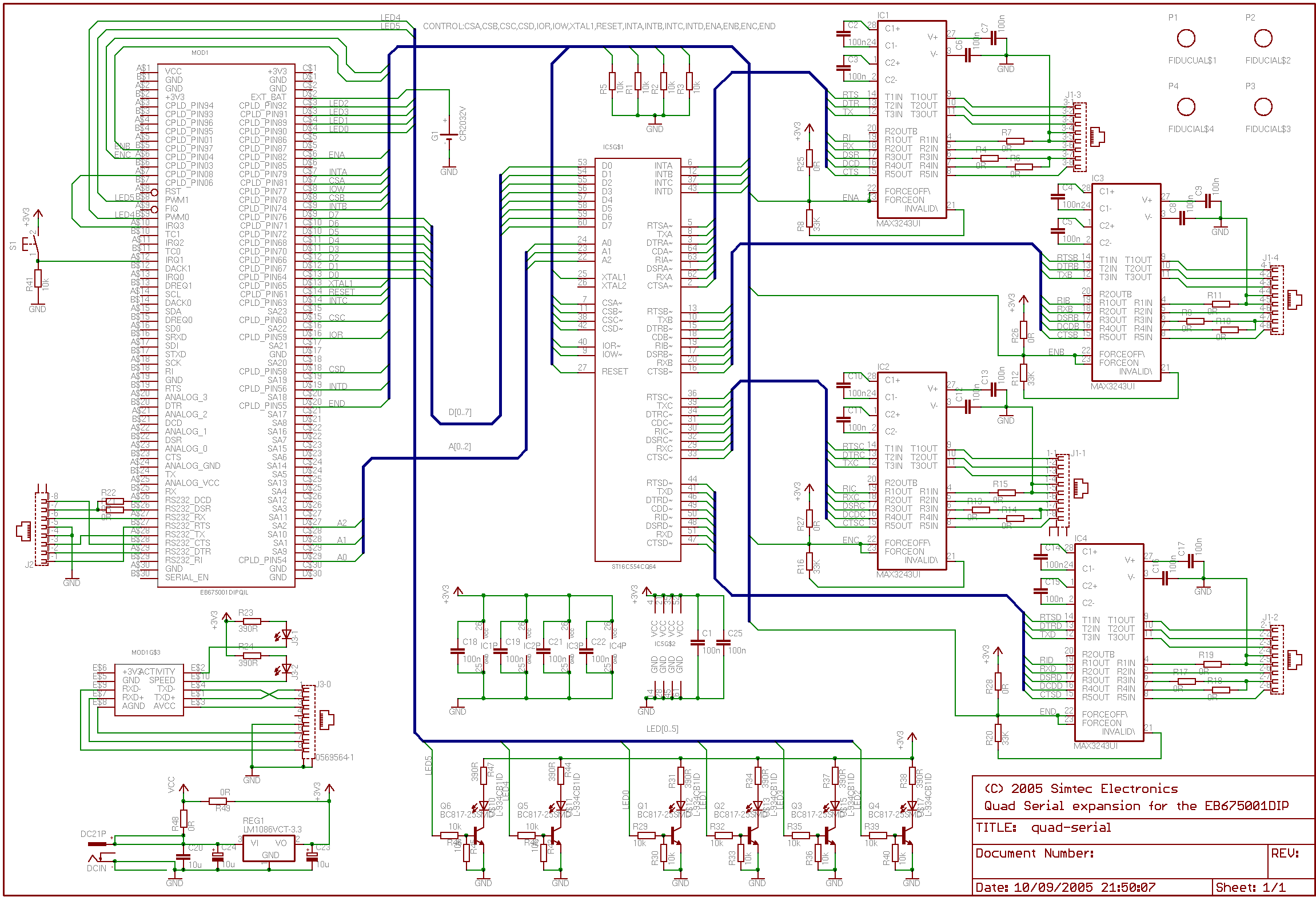 Eagle Bus Wiring Schematics Internal Diagrams Mci Schematic Simtec Electronics Support An0001 Four Port Serial Adapter For Yamaha Motorcycle