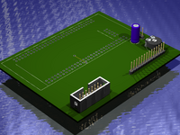 3D board view for the LCD module to EB675001DIP application note