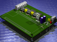3D board view for the EB675001DIP three channel pwm motor driver