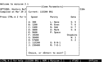 2 2  Using minicom as a serial console